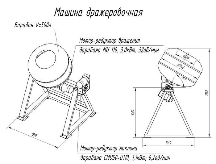 Схема устройства дражировочной машины.дражжировочной машины (вариант) .