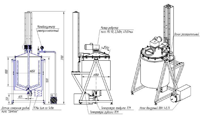 Вариант схема устройства варочного (вакуумного) реактора.